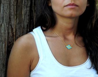 Geometric Chevron Aztec Necklace Kaki Aqua