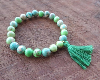 Green Jasper Bracelet, Chakra Bracelet, Healing Meditation Bracelet, Yoga Bracelet, Gemstone Bracelet, Jasper Bracelet, Mala Bracelet