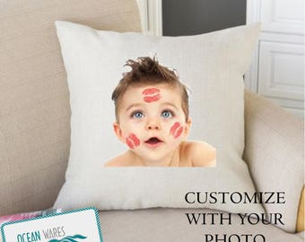 Custom design, add your own photo, personalized gift, throw pillow, cushion cover, mothers day gift, gift for mom