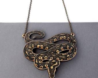 Laser Cut Ball Python Snake Reptile Herpetology Statement Necklace - Herpetology Python Snake Reptile Exotic Pet Jewellery Birch Please
