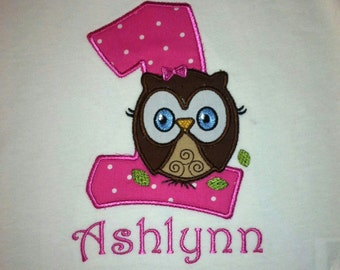 Personalized Owl Birthday Appliqued shirt