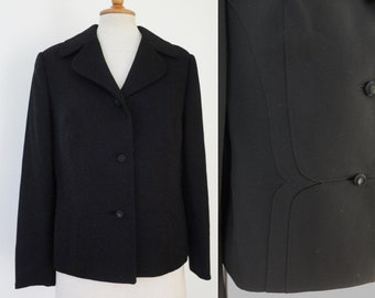 Black 60s Vintage Jacket With Front Stitching // Pure Wool