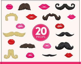 DIY Lips and Mustaches Props | 20 Printable Props | DIY Props | Instant Download | Photo-Booth Clipart