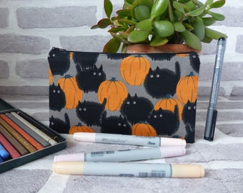 Black cat pencil case, cat in a pumpkin patch, halloween pencil case, black cat, gift for her, gift for cat lover, christmas gift, halloween