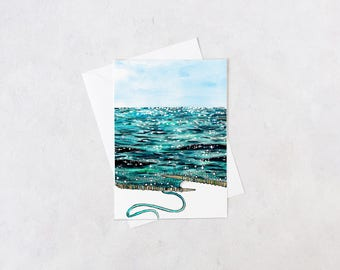 sparkling knitted seascape notecard | blank interior, knitting gifts, crafter, handmade, artist