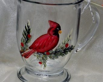 NEW Hand painted Cardinal Mug