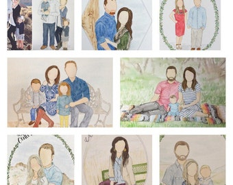 8x10 Custom Watercolor Portrait Illustration