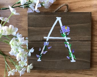 FLORAL MONOGRAM --- home decor, customize your own, choose color and letter!!!!