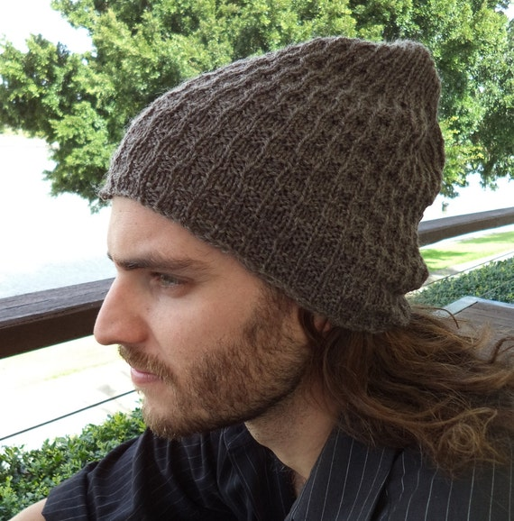 Knitting Pattern Mens Beanie Patterns Textured Rib Stitch Surf