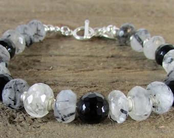 Black Rutilated Quartz Crystal Bracelet, Quartz & Onyx, Genuine Quartz, Gemstone Jewelry