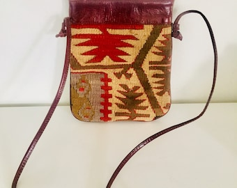 80s Kilim Leather Crossbody Bag by Nomadic Collections