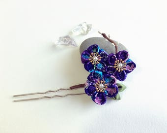 Kanzashi fabric flower hair fork. Japanese Geisha Kanzashi flower hair U pin. Japanese hair fork. Kanzashi hair stick. Oriental hair pin.