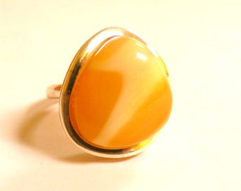Baltic Amber Jewelry Butterscotch Ring Adjustable Untreated Natural Milky 925 Silver 10.4 gram