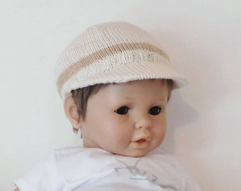Baby boy 12 month hat (1) - 18 months, ecru and brown organic cotton, hand knitted