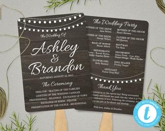 Rustic Wedding Program Fan Template, Rustic Wedding Fan Program Template, Ceremony Program, Rustic Wedding Fans