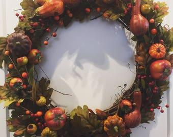 Harvest Wreath, Thanksgiving Wreath, Fall Wreath