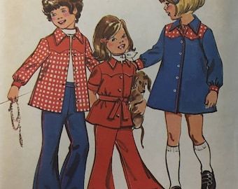 1970s Simplicity 6121 / Girls Dress or Top / Bell Bottom Pants Sewing Pattern