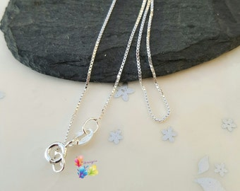 """Sterling silver box chain in a choice of lengths 18"""" 20"""" 24"""""""