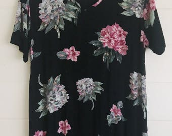 Floral Maxi Dress Vintage 1990s - Size: L