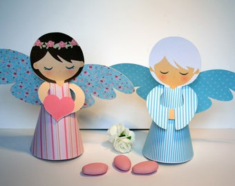 2 angels in cardboard paper 3D for baptism or communion table decoration