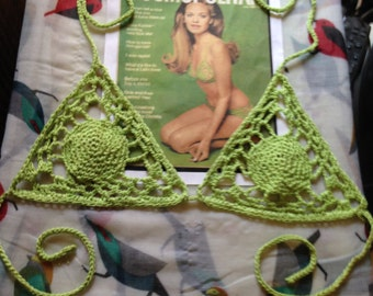 Lacey Absinthe Green Kiwi Crochet Bikini Top 1969 Cosmo Cover Designer Style Cotton
