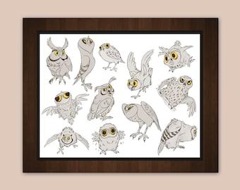 "Cute Owls 8.5 x 11"" Art Print"
