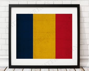 Chad Flag Print, Chad Flag Art, Chad Gifts, Vintage Flag Poster, Housewarming Gift, African Flag Wall Art, Flag Painting, Going Away Gift