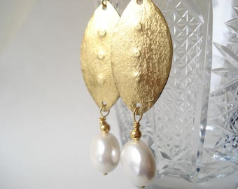 Hammered Bronze White Coin Pearls Earrings Christmas Gift for Her Unique Modern Pearls and Bronze Earrings Metalwork Bridal Pearls Earrings