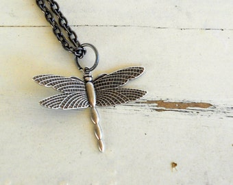 Dragonfly Charm Necklace Vintage Silver Steampunk Symbol of Change