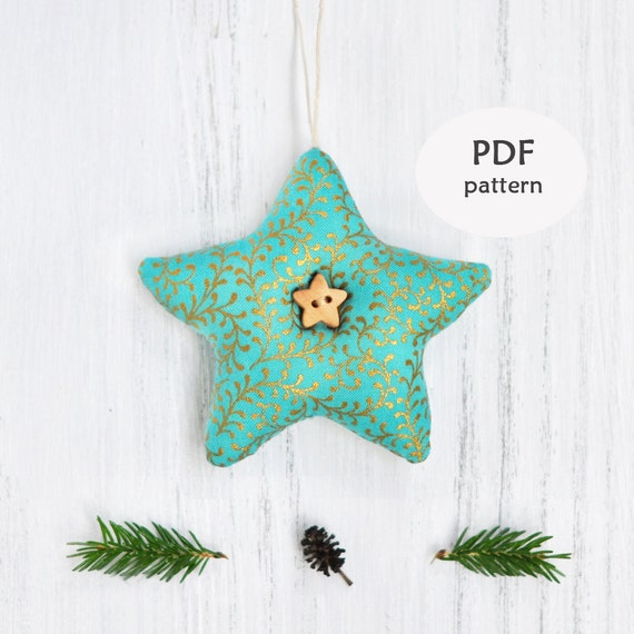 Star Sewing Pattern. Christmas Ornament Patterns. Fabric Star