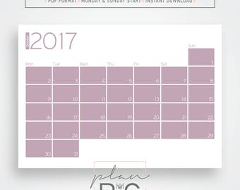 2017 - 2018 Wall calendar, Wall planner, Warm colors calendar, Geometric wall calendar, Digital download, Desk calendar, Desk planner