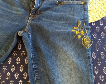 Bohemian embroidered jeans
