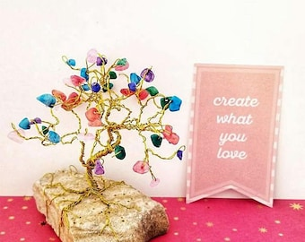 Colorful Gem Tree, Wire Trees, Fun Home Decor, Desk Accessories, Dorm Decor, Small Space Decor, Unique Gifts, Inspirational Decor