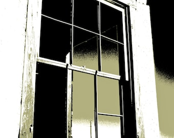 Monochromatic Photography, weathered window panes, window, architecture, olive green, black, Rustic Art, Graphic Art, Fine Art Print