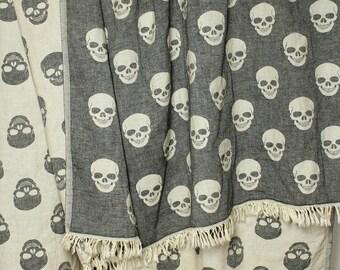 Skull Throw Blanket &  Beach Towel | Black White Hipster Throw | Organic Cotton Bath Towel | College Student Gift | Rocker Boyfriend Gift
