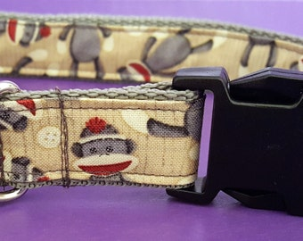Sock Monkey Boutique Dog Collar OOAK