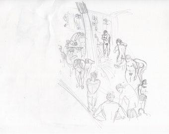 Original drawing men showering