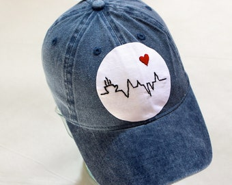Blue Faded Denim Baseball Hat/Cap with Hand Embroidered Cityscape Iron On Patch