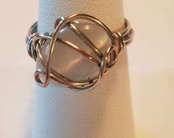 White and Silver Wire Wrapped Ring