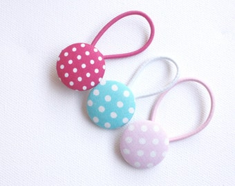 Dotty Button Hair Ties - Hot Pink, Aqua and Pink