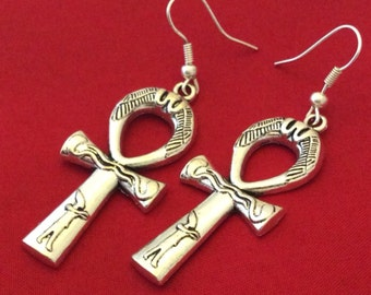 Ankh Earrings Silver Colored with Detail
