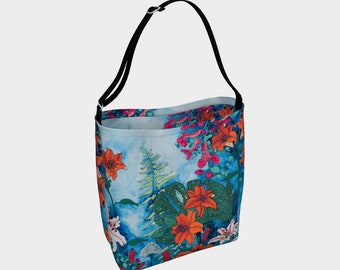 Blue and Orange Lily Day Tote