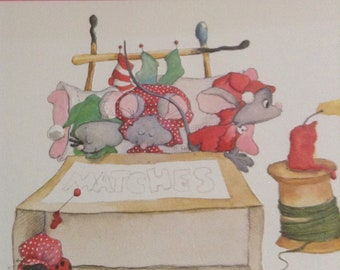 Christmas card mice in matchbook bed unused+env