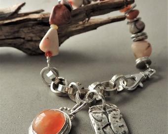 Bijoux artisanaux, opale et Bracelet en argent, les opales de feu mexicaine, bijoux sud-ouest, fait à la main en argent chaine, bijoux rustique, de style urbain Chic