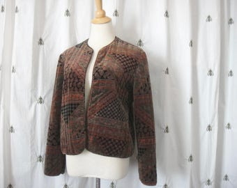 Vintage Quilted Velvet Boho Blazer, Rust, Black and Olive Green, Paisley Print, Size Large by Century of Boston