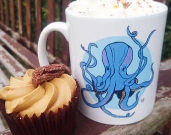Original Design Mug Blue Cute Little Octopus