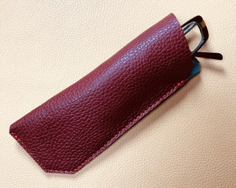 Leather Glasses Case, Spectacle Case, Sunglasses case, Eyeglass case, Sunglass Case, OXBLOOD - GREY