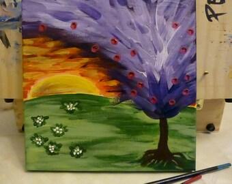 Space tree, acrylic painting