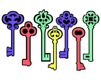 Skeleton Keys Vector Art SVG Files (with Commercial License)