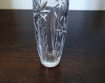 Vintage Gorham Crystal vase with sunflower pattern made in czech republic